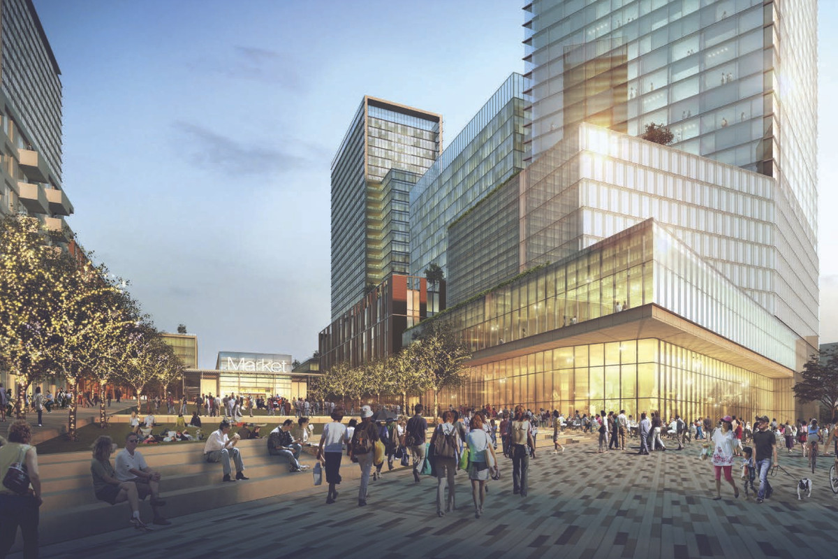 Rendering of Central Health's Brackenridge Campus with a view of the public market