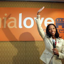 Republican 4th Congressional District candidate Mia Love speaks to supporters at the Hilton  in Salt Lake City  Tuesday, Nov. 6, 2012.