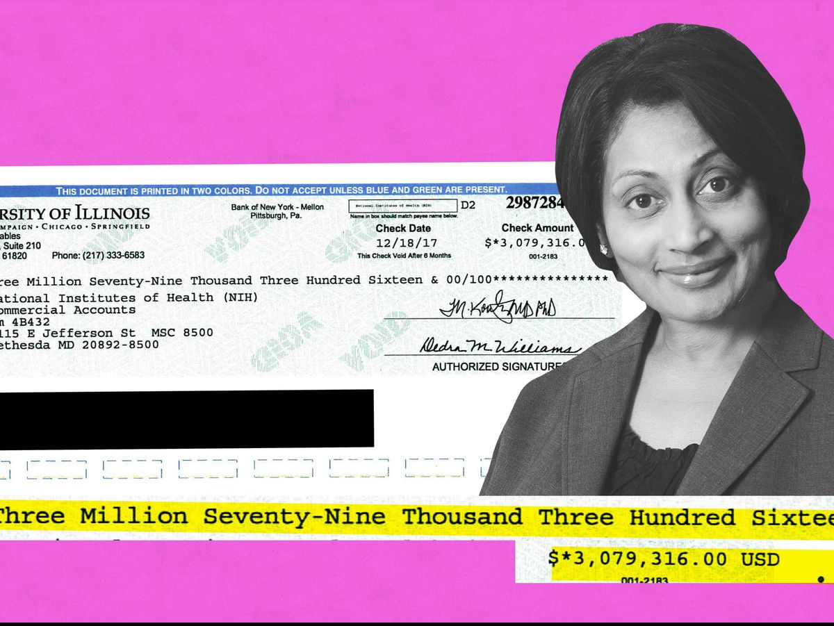University of Illinois at Chicago child psychiatrist Mani Pavuluri and a check for the grant money UIC had to reimburse the federal government for failing to comply with guidelines on research integrity and the use of human subjects.   Lincoln Agnew / Pro