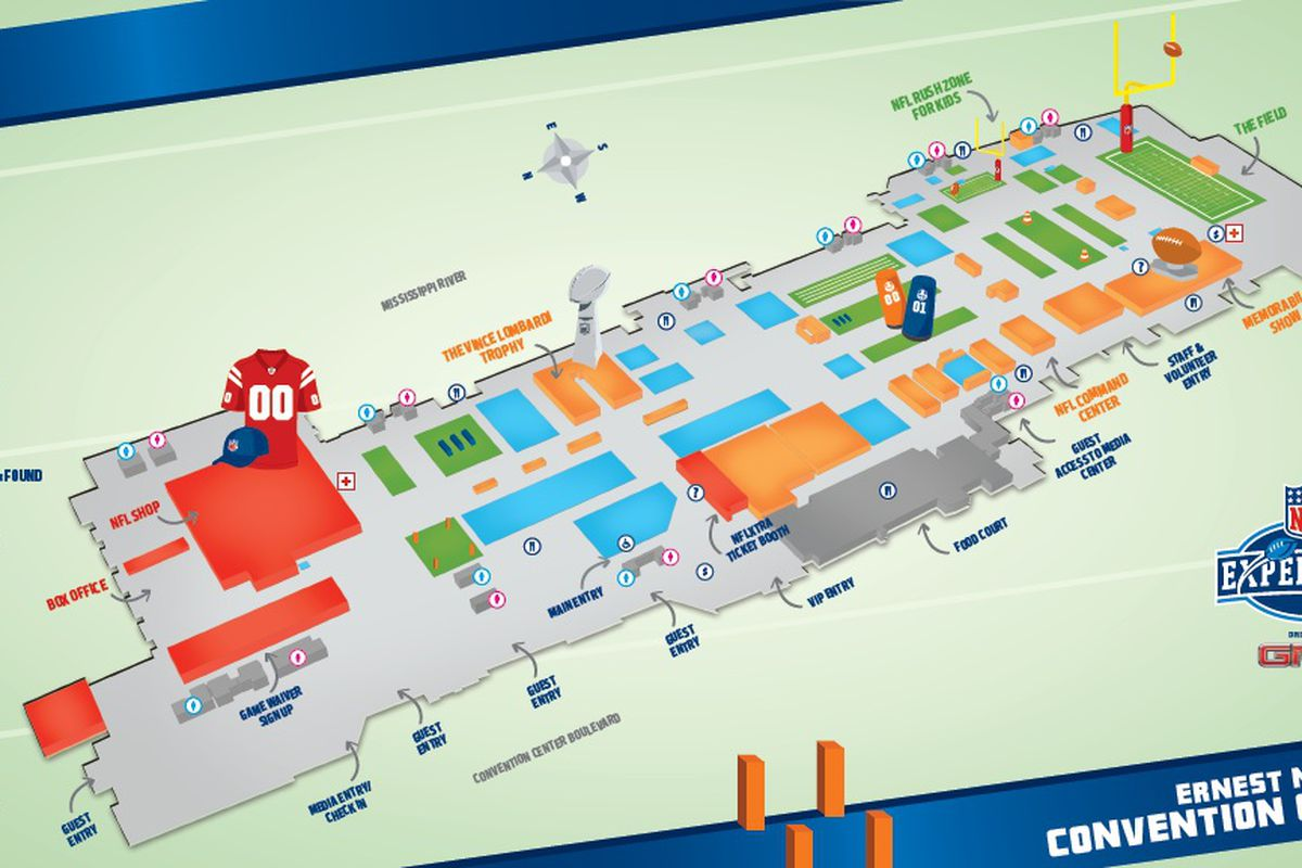 Super Bowl XLVII: NFL Experience Map and Attractions - C ... on map of excalibur, map of cherokee street, map of sodium street, map of hard rock, map of dunes, map of romance, map of new haven street, map of americana, map of julia street cruise terminal, map of st. charles avenue, map of louis armstrong park, map of driftwood, map of geary street, map of holiday, map of boulder station, map of harrah's, map of eclipse, map of sam's town, map of blue bayou water park, map of tchoupitoulas street,