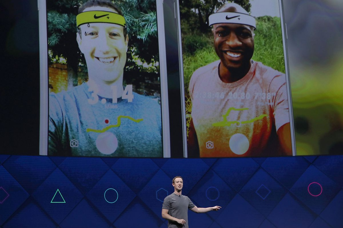 Mark Zuckerberg delivers the keynote address at Facebook's F8 Conference.