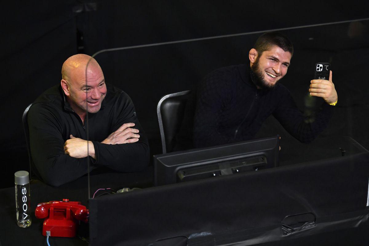 Khabib Nurmagomedov and Dana White at UFC Fight Night: Brunson v Holland