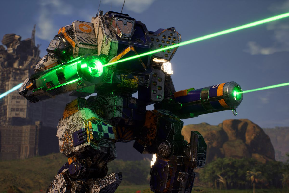An Orion mech takes aim with two long range lasers.