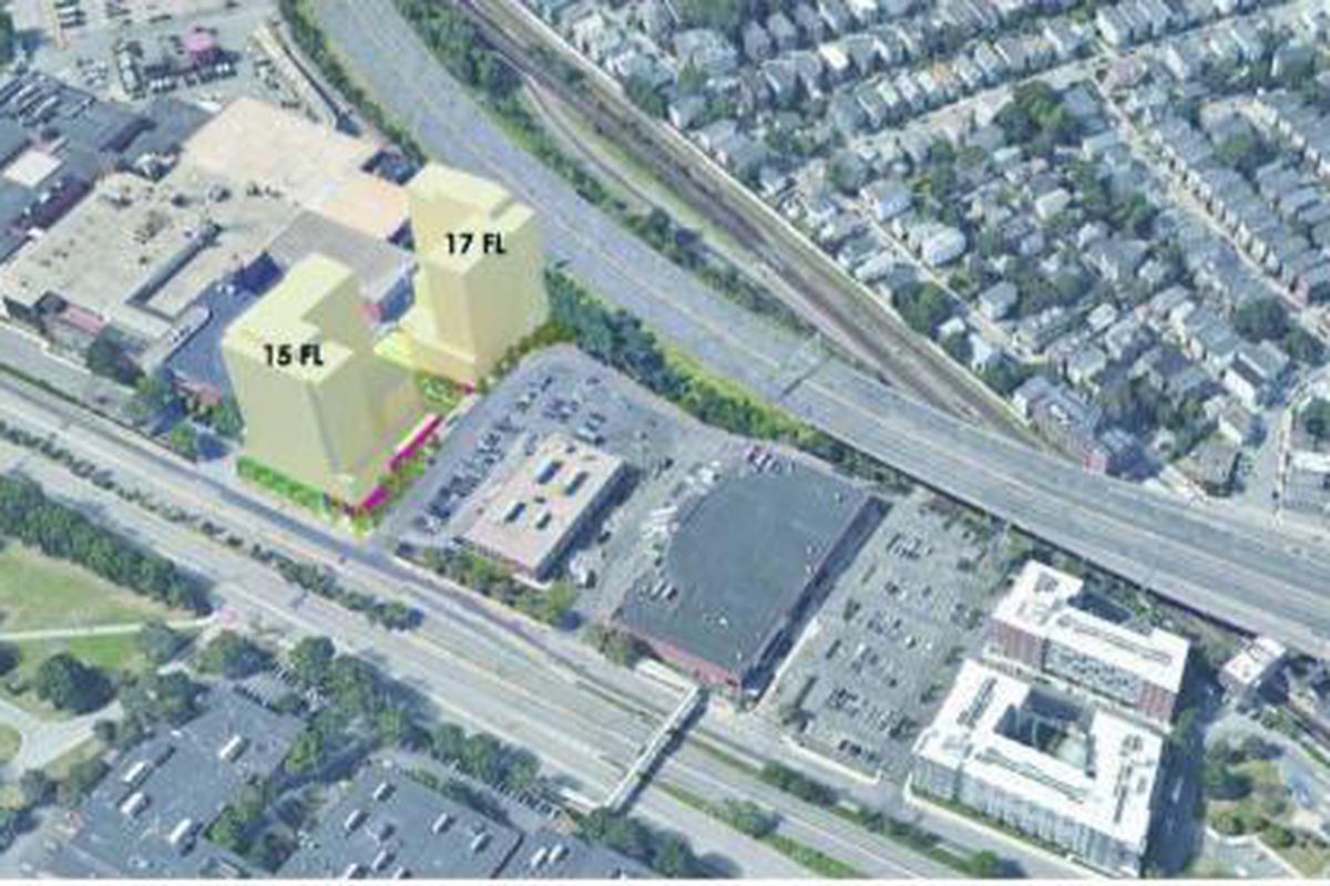 An aerial image of what a development site might look like, and the site is next to a highway.