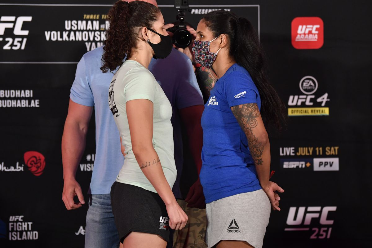 Opponents Karol Rosa of Brazil and Vanessa Melo of Brazil face off during the UFC 251 official weigh-in inside Flash Forum at UFC Fight Island on July 10, 2020 on Yas Island Abu Dhabi, United Arab Emirates.