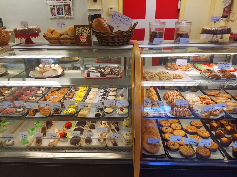 The pastry counter inside Chef Flemming's Bakeshop on Water Street.