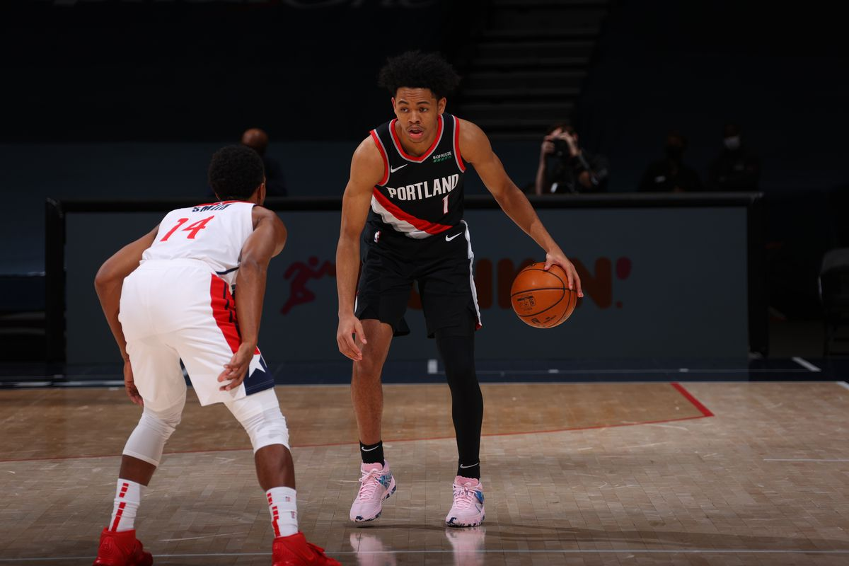 Anfernee Simons #1 of the Portland Trail Blazers dribbles the ball during the game against the Washington Wizards on February 2, 2021 at Capital One Arena in Washington, DC.
