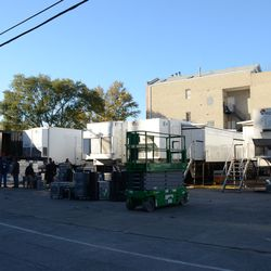Sun 4:02 p.m. The broadcast lot, filling up with equipment -