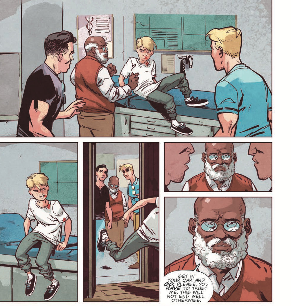 """Two men observe a critically injured teen boy sit up from a doctor's examination table and run out the door. """"Get in your car and go,"""" the doctor tells them. """"Please, you have to trust me. This will not end well, otherwise,"""" in Stillwater #1, Image Comics (2020)."""