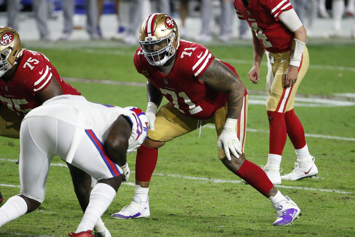 Offensive lineman Trent Williams #71 of the San Francisco 49ers during the second half of the NFL football game against the Buffalo Bills at State Farm Stadium on December 07, 2020 in Glendale, Arizona.