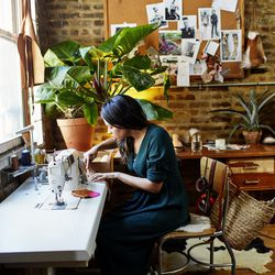 At the studio of Aurora James, creative director of Schier shoes.