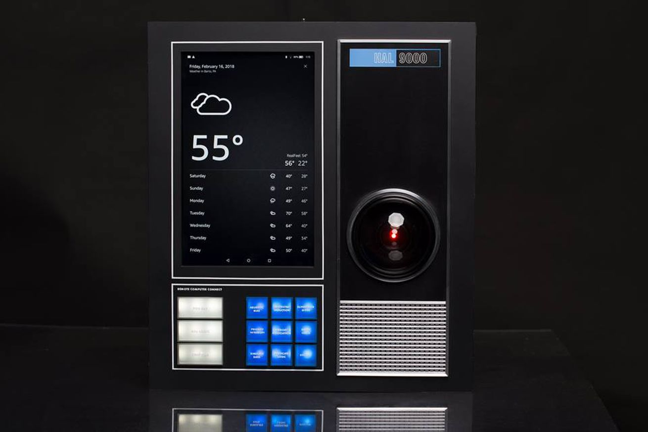 this replica of hal 9000 from 2001 a space odyssey comes with amazon s alexa built in