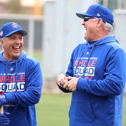 Doug Dascenso and Ryne Sandberg share a laugh on the stretching field at the Under Armour Performance Center, the Spring Training home of the Chicago Cubs, in Mesa, AZ.   John Antonoff/For the Sun-Times