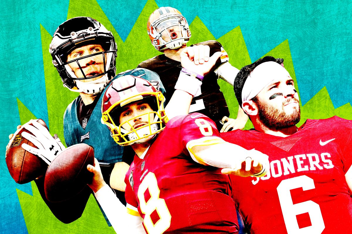 A photo collage featuring Nick Foles, Kirk Cousins, Drew Brees, and Baker Mayfield