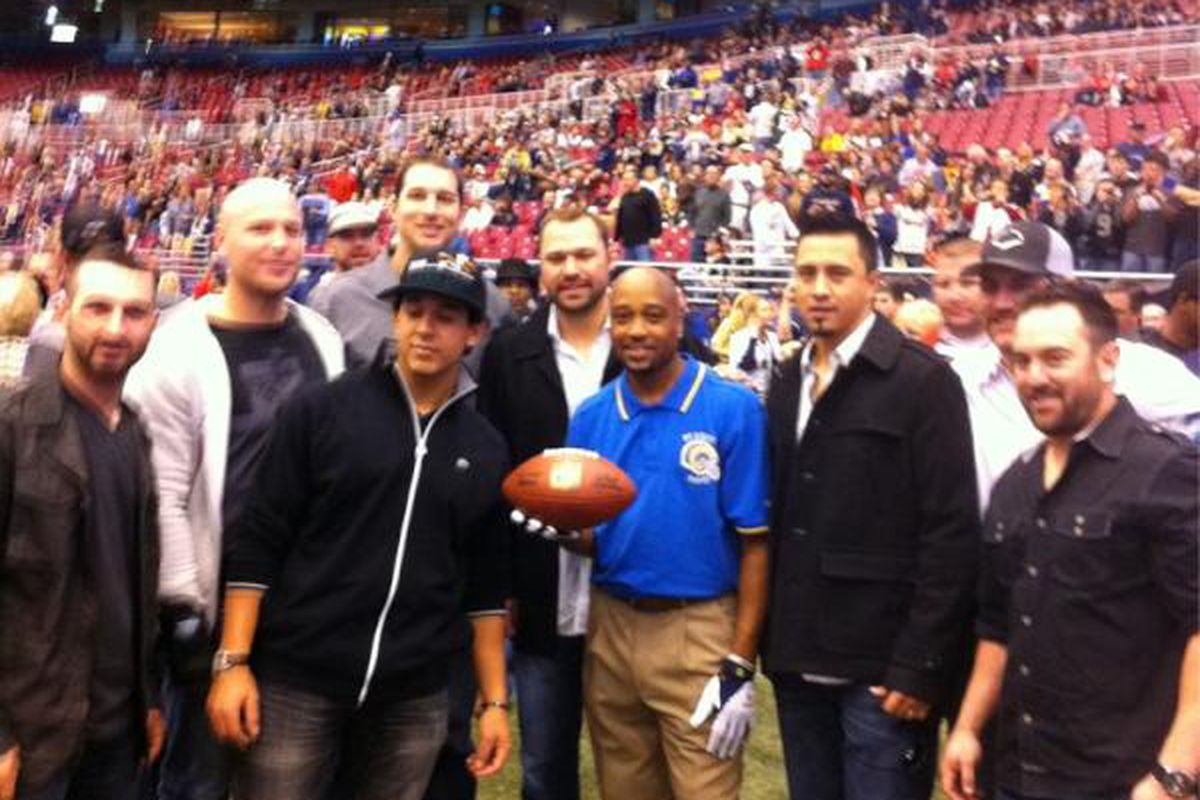 """Players from the St. Louis Cardinals took in the Rams game today. <a href=""""http://twitter.com/#!/STLouisRams/status/130686455839330304"""" target=""""new"""">Photo courtesy of the St. Louis Rams</a>."""