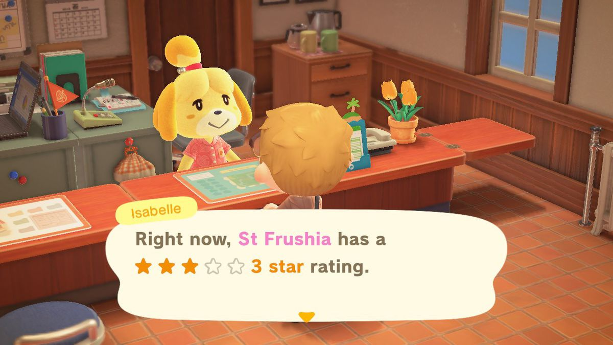 Getting the town rating from Isabelle in Animal Crossing New Horizons