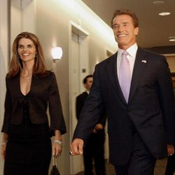 """FILE -- In this file photo taken Nov. 16, 2003, then Gov.-elect Arnold Schwarzenegger and his wife, Maria Shriver, smile as they walk to a meeting of his transition committee, in Sacramento, Calif.  In an interview with """"60 minutes"""" that is scheduled to air Sunday, Schwarzenegger says the affair he had with longtime housekeeper Mildred Baena, that led to a son, was """"the stupidest thing"""", he ever did to then-wife Maria Shriver."""