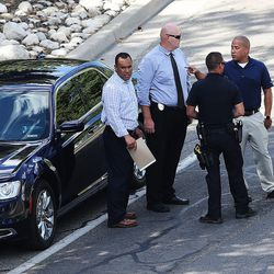 Sandy police talks as they investigate a deadly shooting on Tuesday, June 6, 2017.