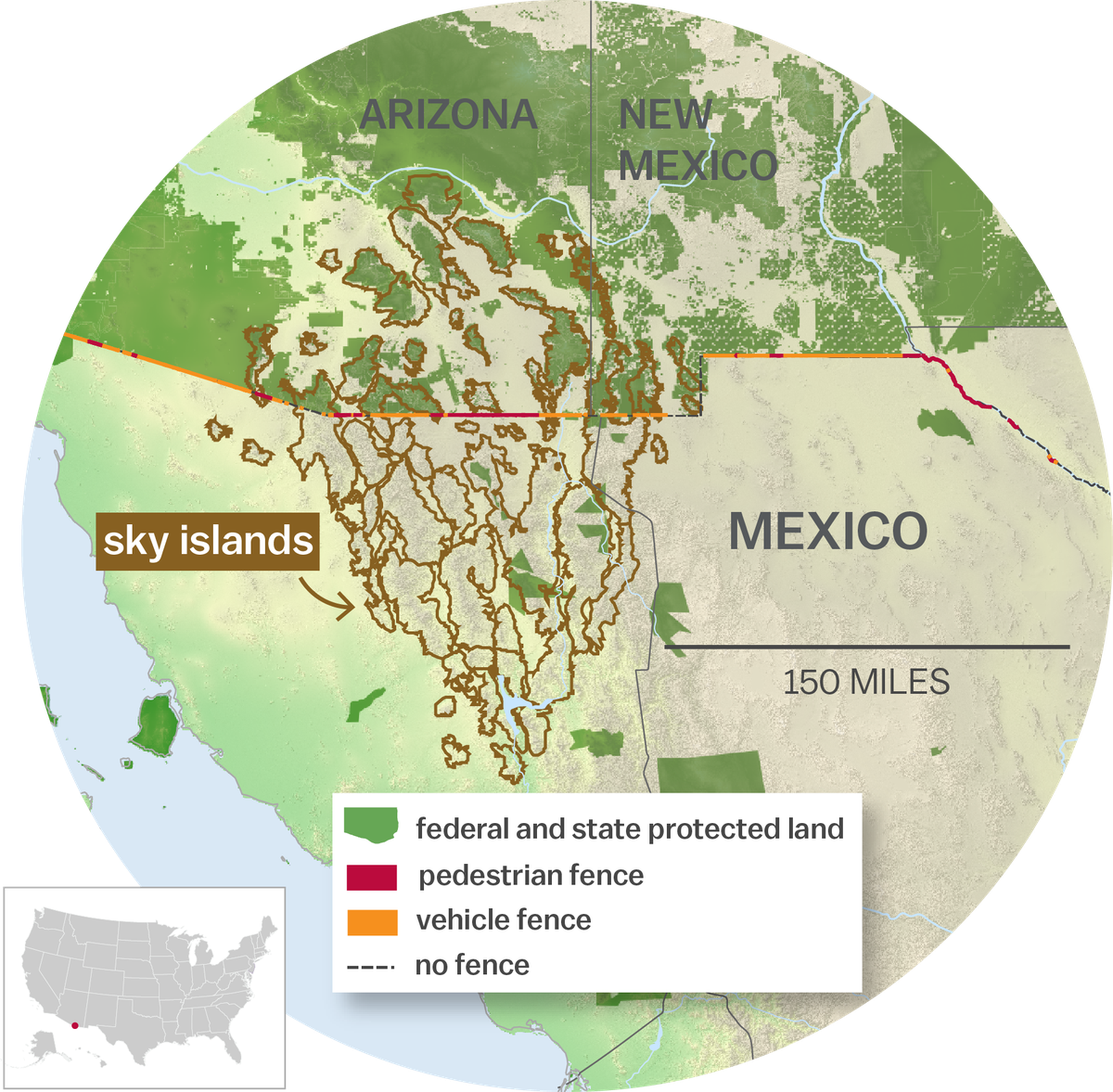 """Map of """"sky islands"""" in Arizona, New Mexico and Mexico"""