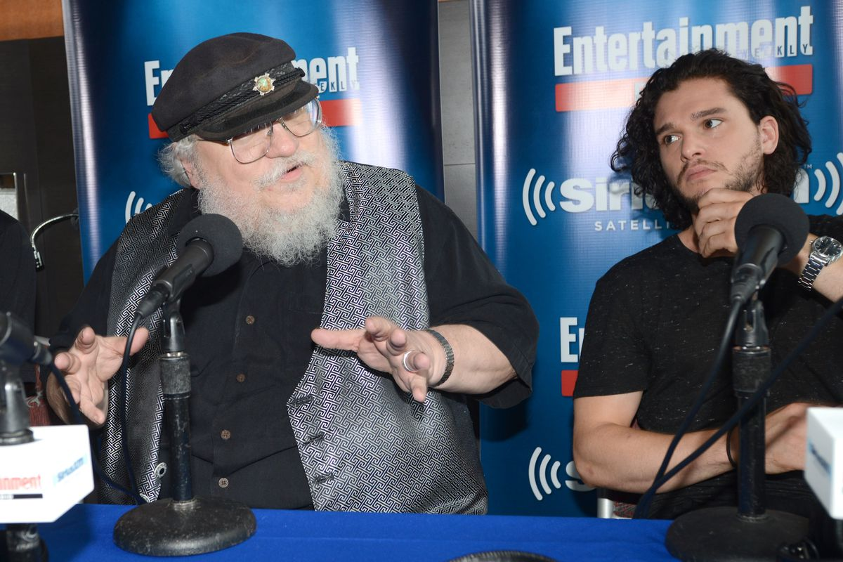 George RR Martin and Game of Thrones cast member Kit Harington.