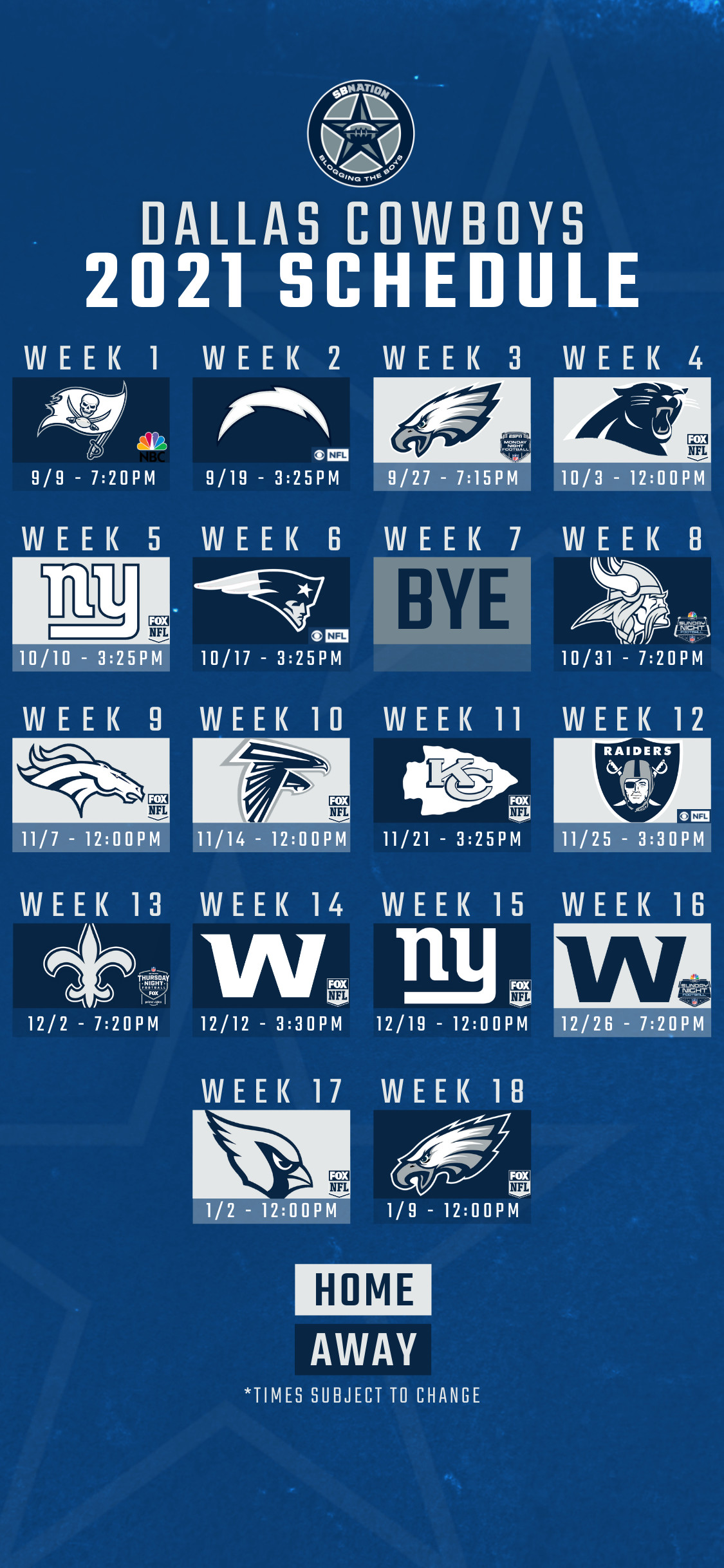 2021 Dallas Cowboys Schedule Dallas Opens In Tampa Hosts Vegas On Thanksgiving See All Game Times Blogging The Boys