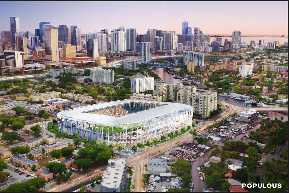 A rendering of David Beckham's MLS Miami stadium concept in Overtown