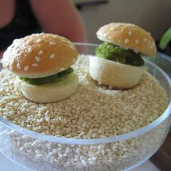 """Pea burgers from Blue Hill at Stone Barns by <a href=""""http://www.flickr.com/photos/nycaesar/5853415503/in/pool-eater/"""">NYCAESAR</a>.<br />"""