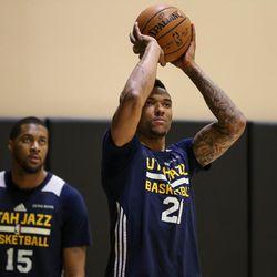 Utah Jazz forward Joel Bolomboy (21) shoots during practice at the Equinox Sports Club in San Francisco on Tuesday, May 02, 2017.
