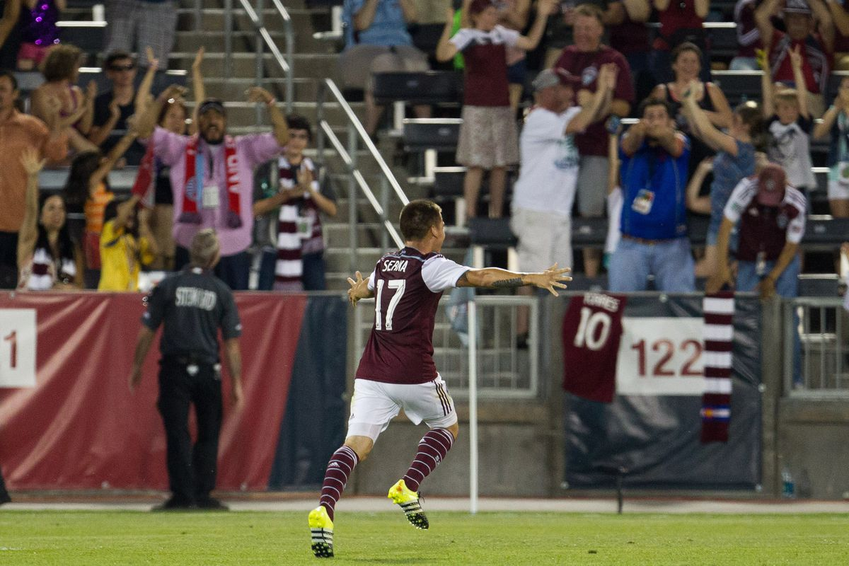 Dillon Serna celebrates after his goal in the second half against FC Dallas at Dick's Sporting Goods Park.