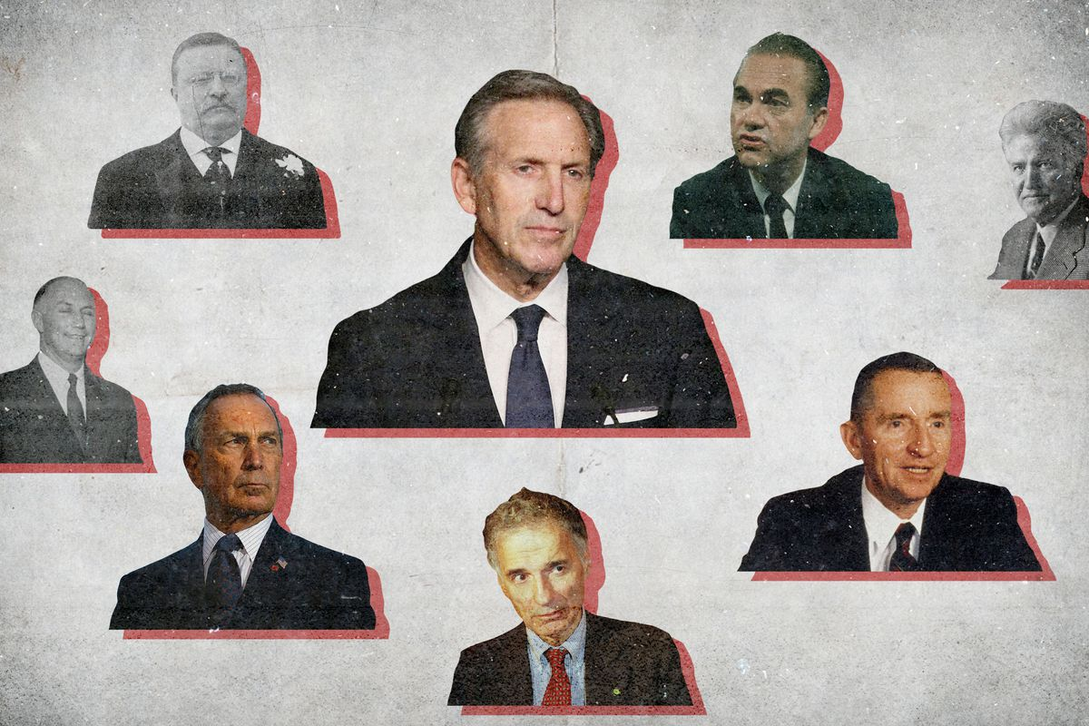 Howard Schultz surrounded by previous third-party presidential candidates