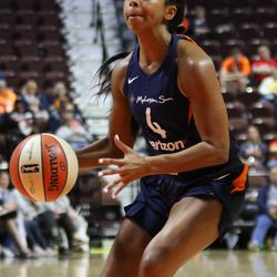 The Connecticut Sun take on the Dallas Wings in a WNBA preseason game at Mohegan Sun Arena in Uncasville, CT on May 8, 2018.
