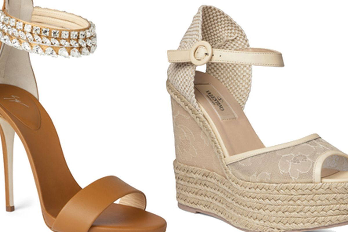 Giuseppe Zanotti sandal, $539 (from $1,350); Valentino wedge, $269 (from $545)