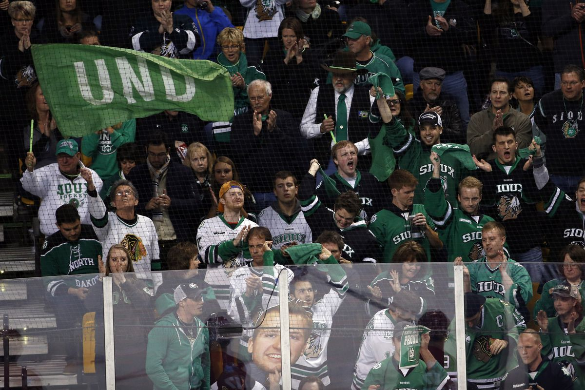 """Hockey fans especially, UND's flagship sport, continue to wear """"Sioux"""" apparel."""