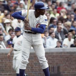 The classic Ernie batting stance at Wrigley Field in 1969