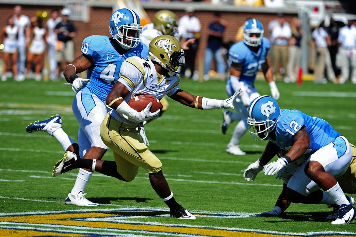 ATLANTA - SEPTEMBER 24: Embry Peeples #24 of the Georgia Tech Yellow Jackets carries the ball against the North Carolina Tar Heels at Bobby Dodd Field on September 24, 2011 in Atlanta, Georgia. Photo by Scott Cunningham/Getty Images)