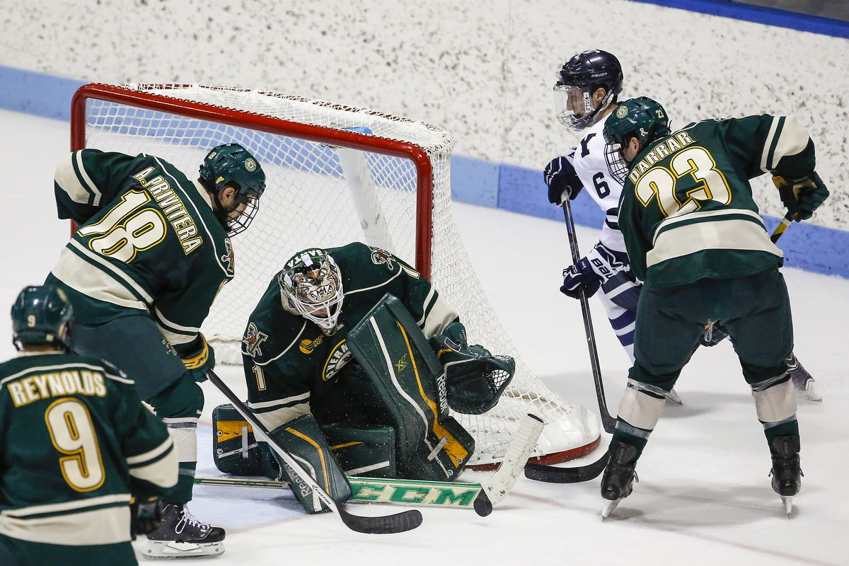 UVM goalie Mike Santaguida (1) stopped all 24 shots he faced Friday.