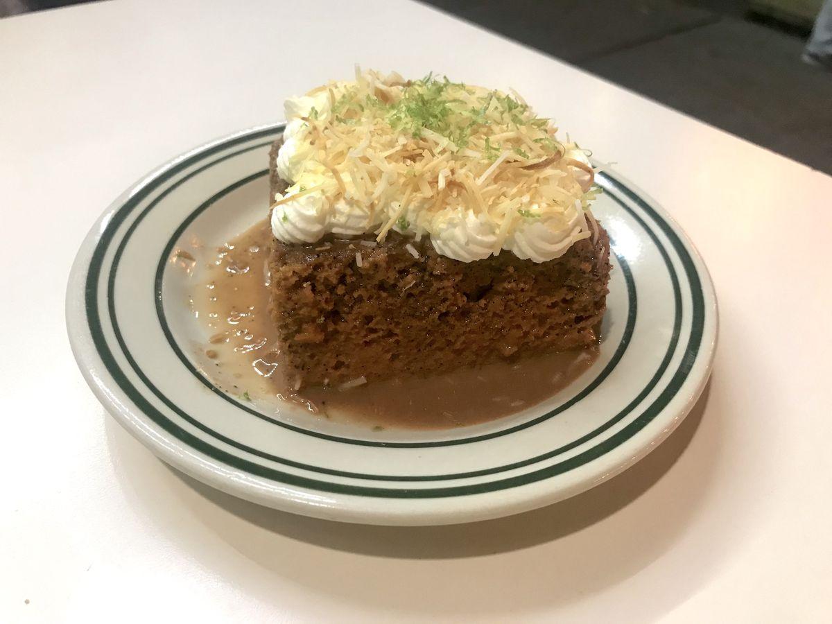 A dessert of thai tea tres leche cake as seen at Golden Diner