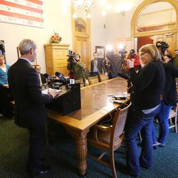 Mayor Ralph Becker prepares to address the media after the Salt Lake City Council, acting as the city's board of canvassers, certified final election results Tuesday, Nov. 17, 2015, at the City-County Building. Jackie Biskupski defeated Becker by 1,194 votes — 51.55 percent to 48.45 percent — with more than 38,000 votes cast.