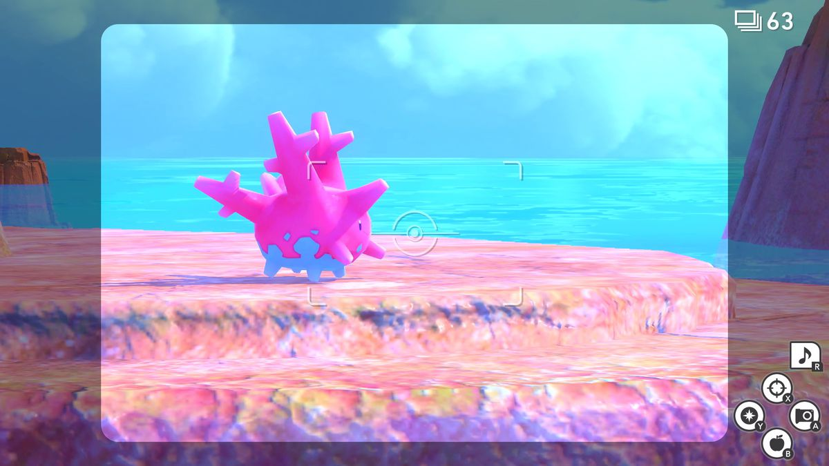 A Corsola chills on a rock in a screenshot from New Pokemon Snap