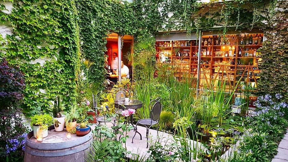 An outdoor patio overrun with plants, including a large plant wall and vines draped from above, with a few patio chairs and a library-like interior visible through large windows