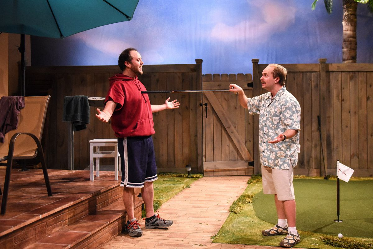"Jason M. Shipman (left) andNathaniel StahlkeinBlock St Theatre Co'sworld premiere of ""Flamingo & Decatur.""   Evan Hanover"