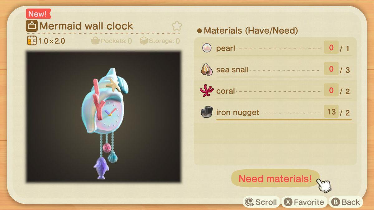 An Animal Crossing recipe for a Mermaid Wall Clock