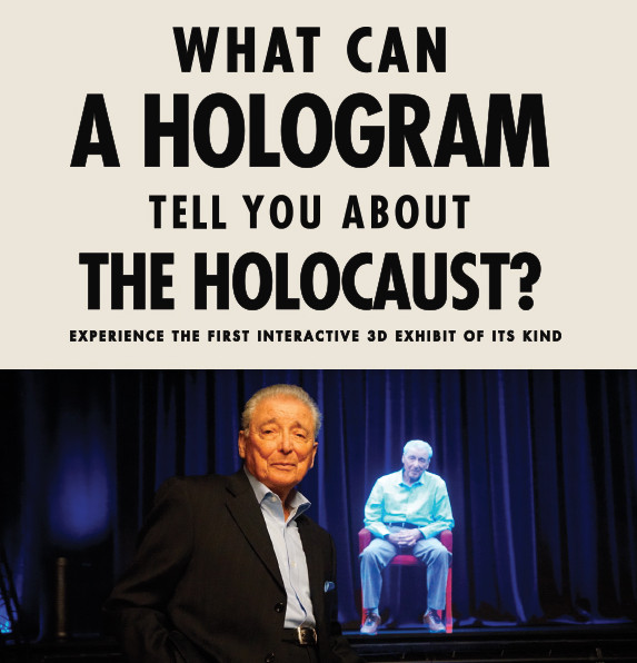 Aaron Elster and his hologram.   Illinois Holocaust Museum & Education Center
