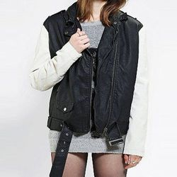 """<b>Silence + Noise</b> Moto Jacket in Black & White, <a href=""""http://www.urbanoutfitters.com/urban/catalog/productdetail.jsp?id=27902055&parentid=W_OUTERWEAR_JACKETS"""">$99</a>"""