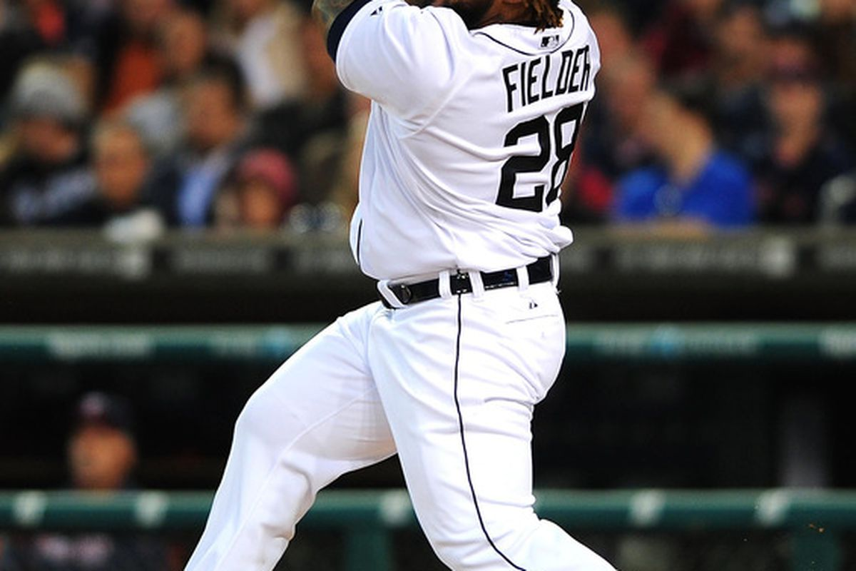 May 16, 2012; Detroit, MI, USA; Detroit Tigers first baseman Prince Fielder (28) hits a fly ball out to center field in the fifth inning against the Minnesota Twins at Comerica Park. Mandatory Credit: Andrew Weber-US PRESSWIRE