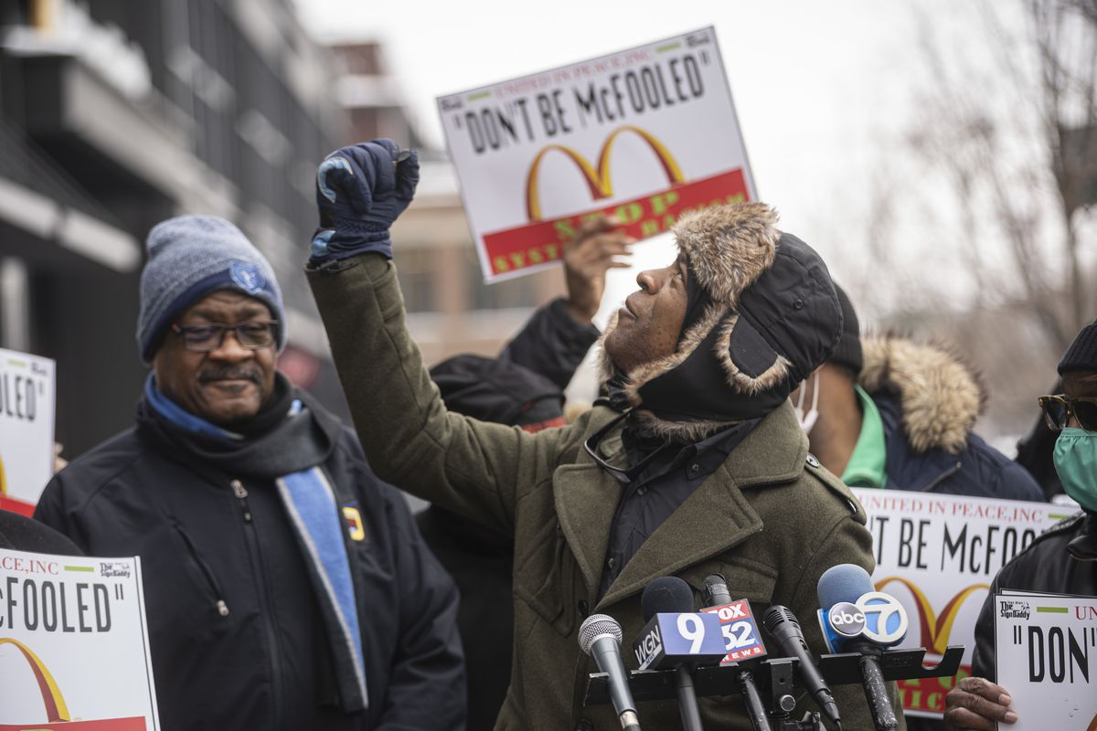 McDonald's franchise owner/operator Darrell Byrd speaks during a press conference outside the company's global headquarters in the West Loop on Monday, Feb. 22, 2021.