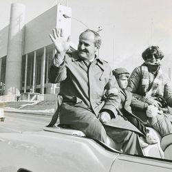 BYU head football coach LaVell Edwards and the BYU team is honored after winning the national championship Jan. 20, 1985.