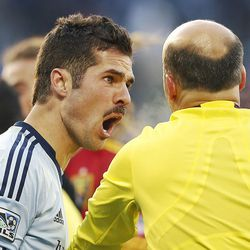 Sporting's Benny Feilhaber yells at an official as Real Salt Lake and Sporting KC play Saturday, Dec. 7, 2013 in MLS Cup action.