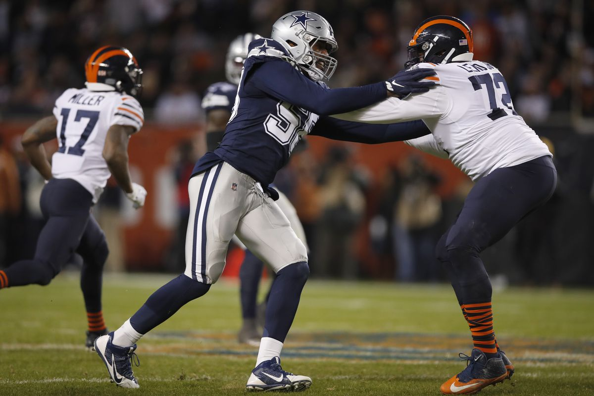 Robert Quinn (58, battling Bears left tackle Charles Leno last December) had 11.5 sacks for the Cowboys as a 4-3 defensive end in 2020.
