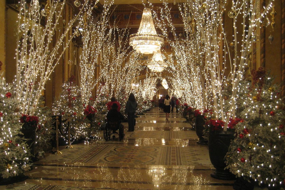 The Roosevelt lobby, decked out in holiday cheer